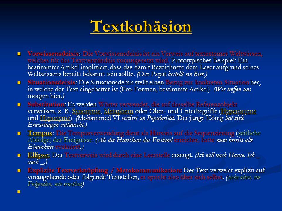 Textkohäsion Vorwissensdeixis: Die Vorwissensdeixis ist ein Verweis auf textexternes Weltwissen, welches für das Textverständnis vorausgesetzt wird.