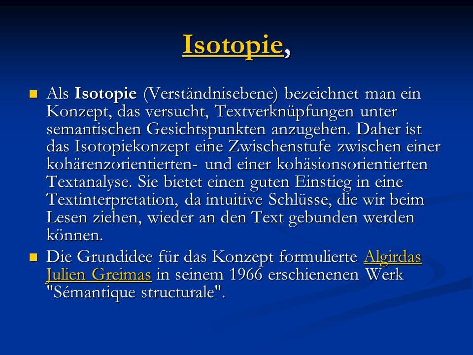 IsotopieIsotopie, Isotopie Als Isotopie (Verständnisebene) bezeichnet man ein Konzept, das versucht, Textverknüpfungen unter semantischen Gesichtspunkten anzugehen.