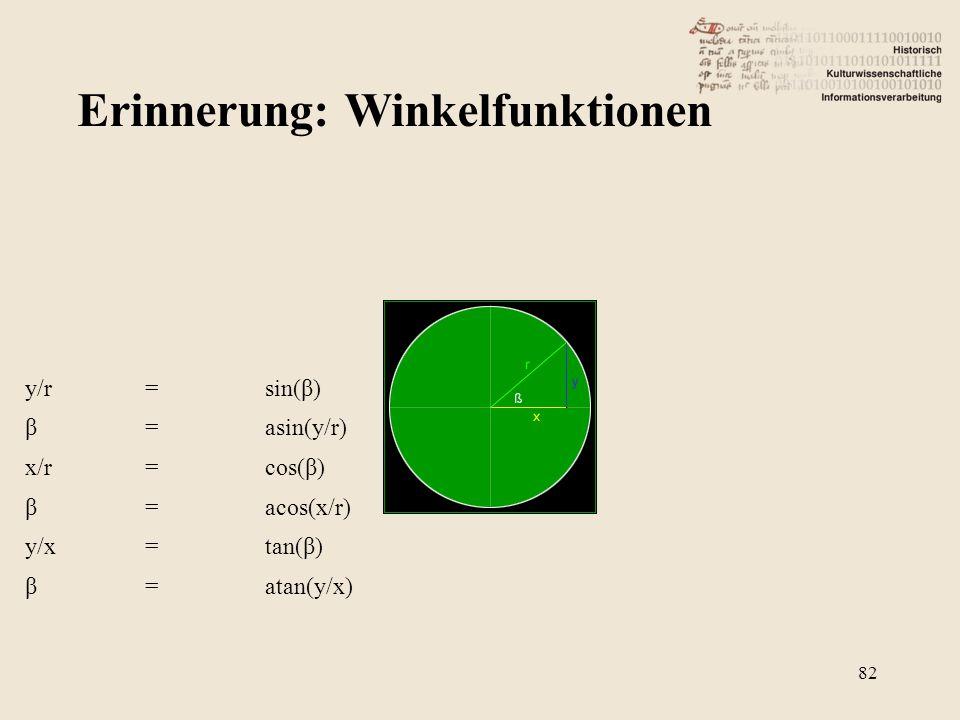 Erinnerung: Winkelfunktionen 82 y/r=sin(β) β=asin(y/r) x/r=cos(β) β=acos(x/r) y/x=tan(β) β=atan(y/x)