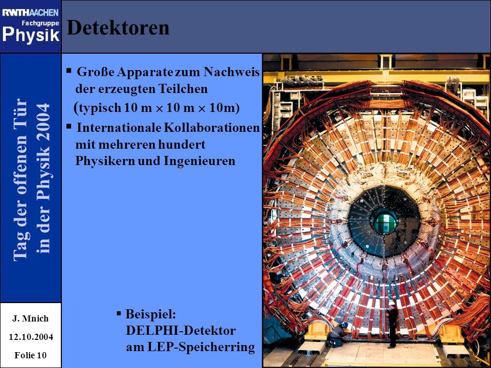 Tag der offenen Tür in der Physik 2004 Detektoren J. Mnich 12.10.2004 Folie 10  Beispiel: DELPHI-Detektor am LEP-Speicherring  Große Apparate zum Na