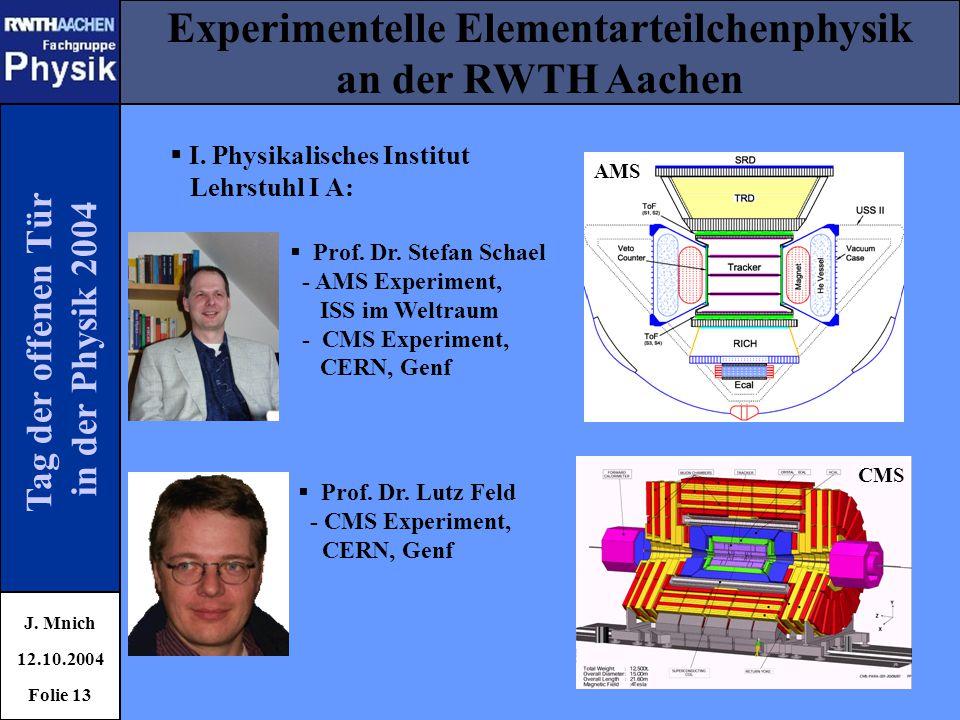 Tag der offenen Tür in der Physik 2004 Experimentelle Elementarteilchenphysik an der RWTH Aachen J. Mnich 12.10.2004 Folie 13  I. Physikalisches Inst