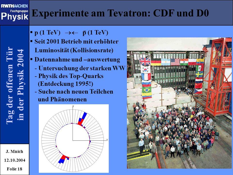 Tag der offenen Tür in der Physik 2004 Experimente am Tevatron: CDF und D0 J. Mnich 12.10.2004 Folie 18  p (1 TeV)  p (1 TeV)  Seit 2001 Betrieb m