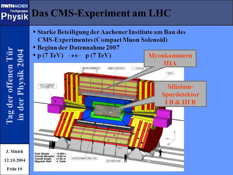 Tag der offenen Tür in der Physik 2004 Das CMS-Experiment am LHC J. Mnich 12.10.2004 Folie 19  Starke Beteiligung der Aachener Institute am Bau des C