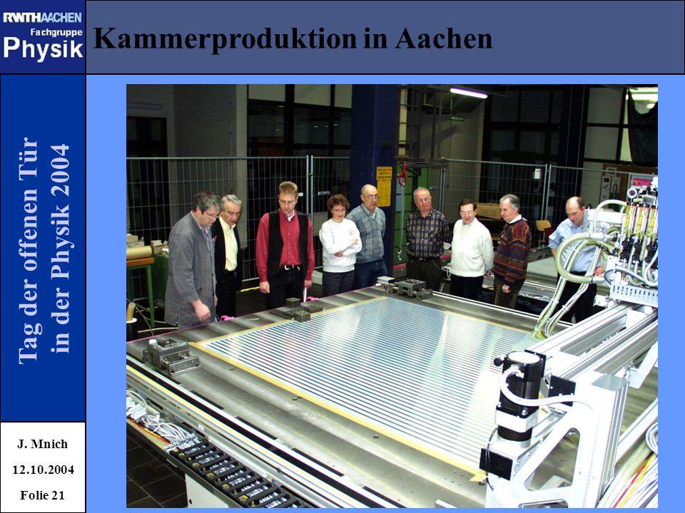 Tag der offenen Tür in der Physik 2004 Kammerproduktion in Aachen J. Mnich 12.10.2004 Folie 21