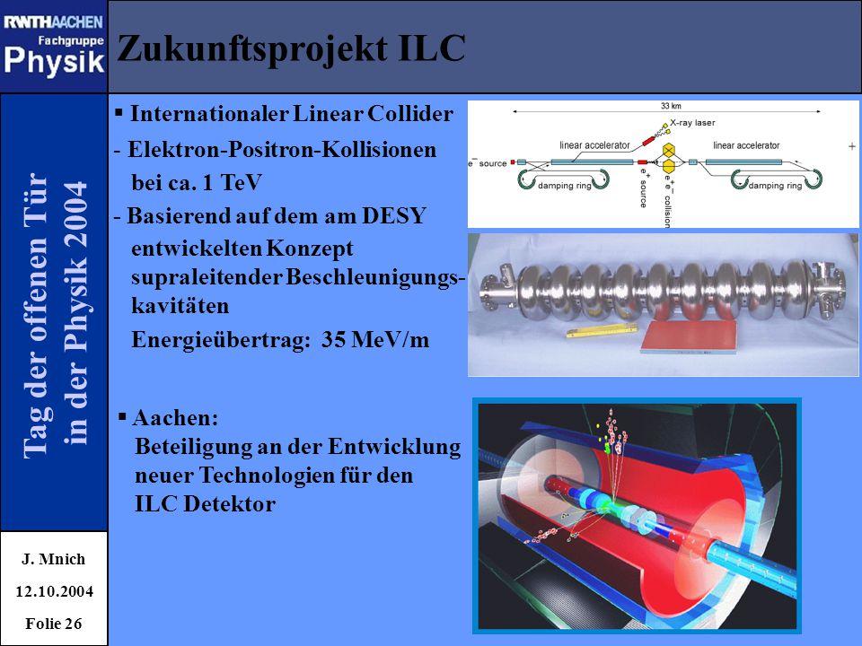 Tag der offenen Tür in der Physik 2004 Zukunftsprojekt ILC J. Mnich 12.10.2004 Folie 26  Internationaler Linear Collider - Elektron-Positron-Kollisio