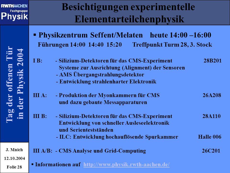 Tag der offenen Tür in der Physik 2004 Besichtigungen experimentelle Elementarteilchenphysik J. Mnich 12.10.2004 Folie 28  Physikzentrum Seffent/Mela