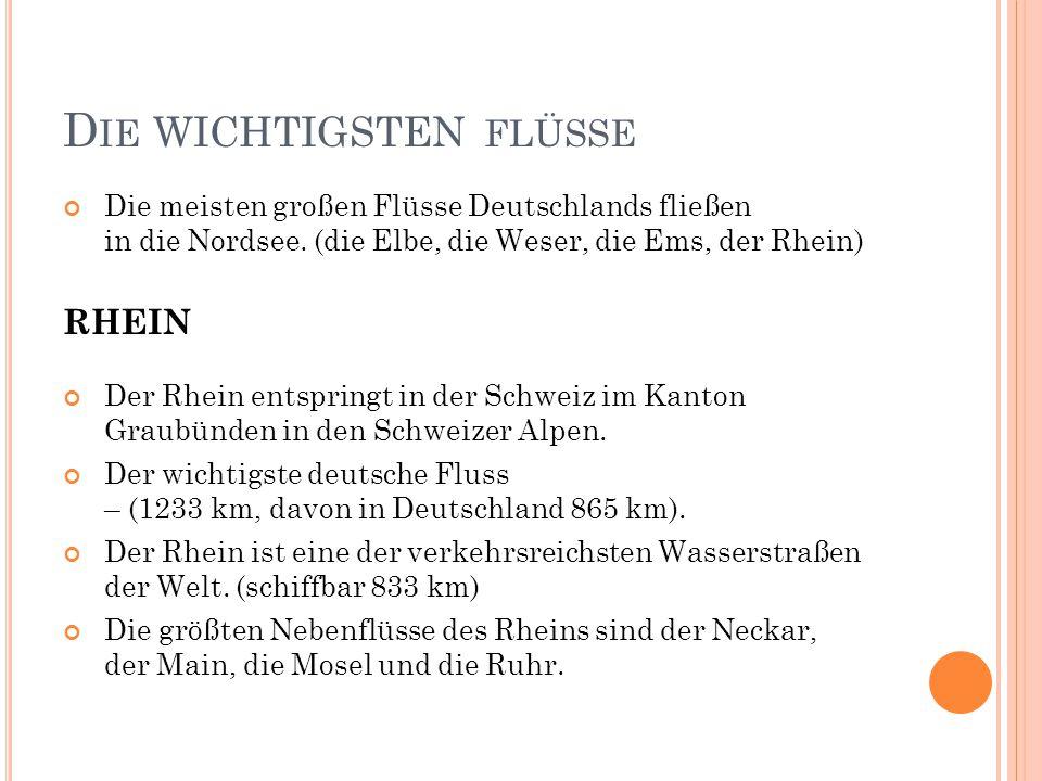 D IE WICHTIGSTEN FLÜSSE Die meisten großen Flüsse Deutschlands fließen in die Nordsee. (die Elbe, die Weser, die Ems, der Rhein) RHEIN Der Rhein entsp