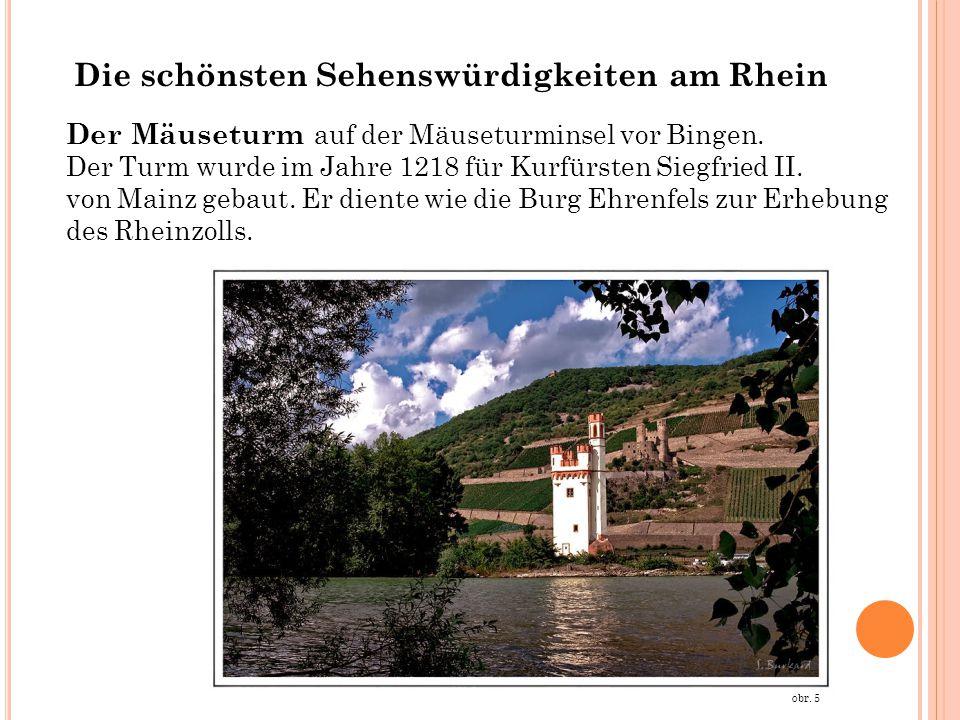 Der Mäuseturm auf der Mäuseturminsel vor Bingen. Der Turm wurde im Jahre 1218 für Kurfürsten Siegfried II. von Mainz gebaut. Er diente wie die Burg Eh