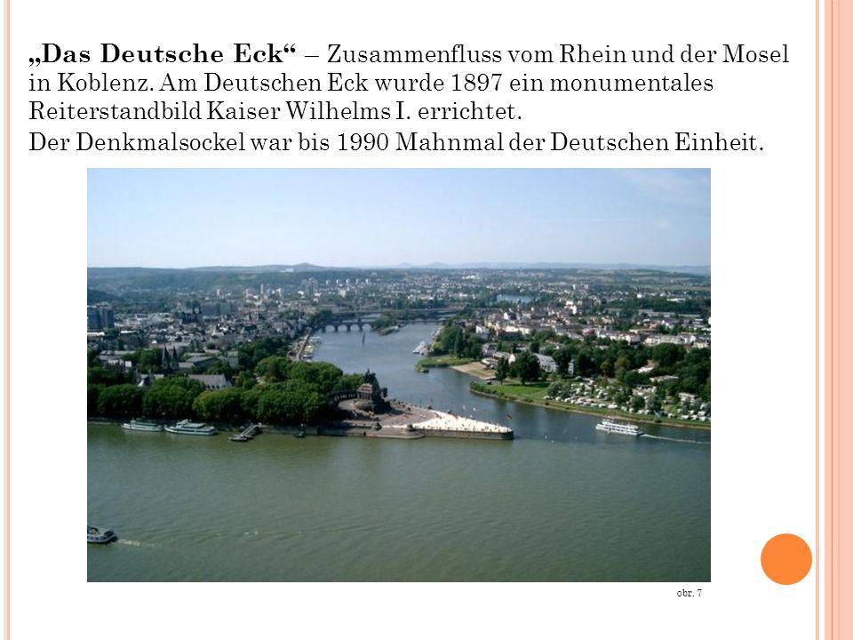 """""""Das Deutsche Eck"""" – Zusammenfluss vom Rhein und der Mosel in Koblenz. Am Deutschen Eck wurde 1897 ein monumentales Reiterstandbild Kaiser Wilhelms I."""