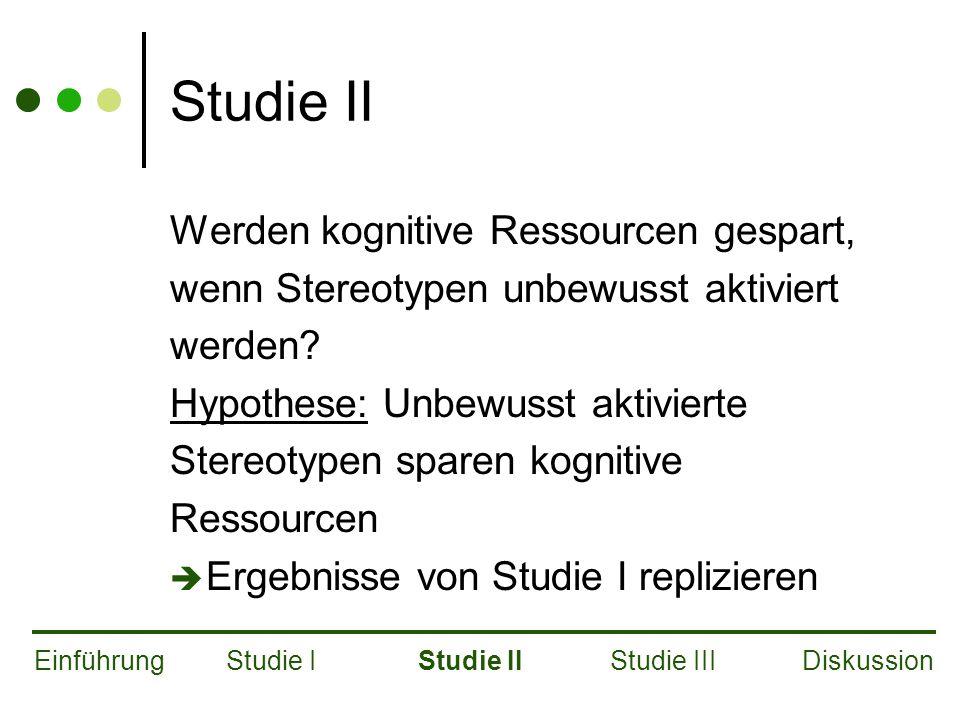 Studie II Werden kognitive Ressourcen gespart, wenn Stereotypen unbewusst aktiviert werden.