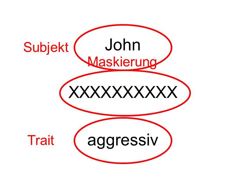 John XXXXXXXXXX aggressiv Subjekt Trait Maskierung