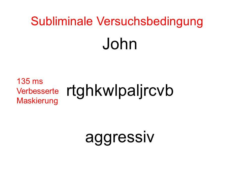 John rtghkwlpaljrcvb aggressiv Subliminale Versuchsbedingung 135 ms Verbesserte Maskierung