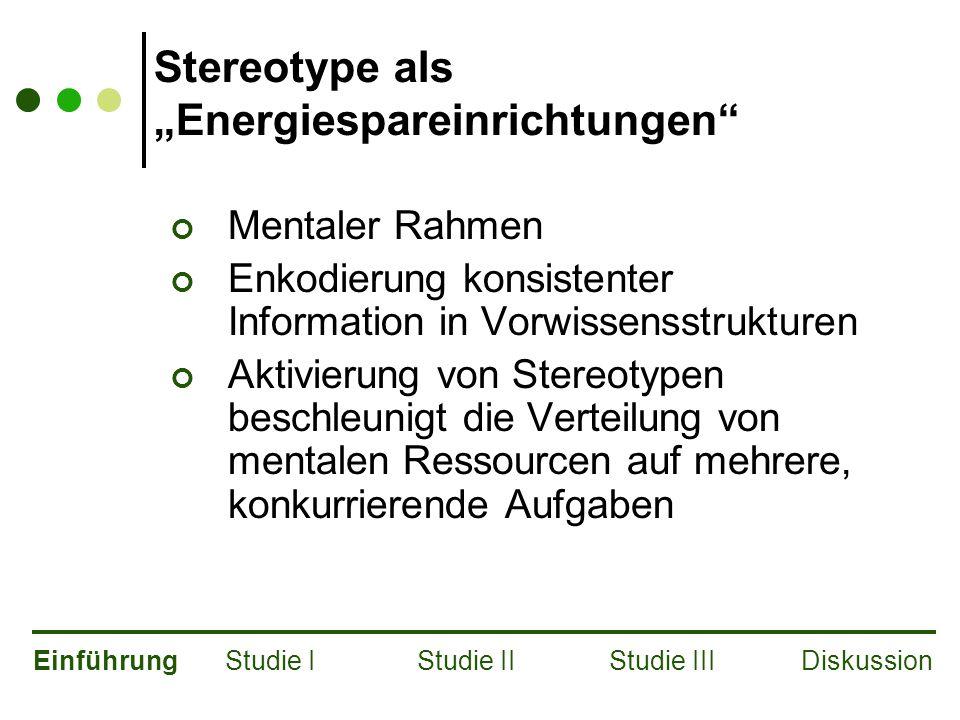 """Stereotype als """"Energiespareinrichtungen Mentaler Rahmen Enkodierung konsistenter Information in Vorwissensstrukturen Aktivierung von Stereotypen beschleunigt die Verteilung von mentalen Ressourcen auf mehrere, konkurrierende Aufgaben EinführungStudie IStudie IIStudie IIIDiskussion"""