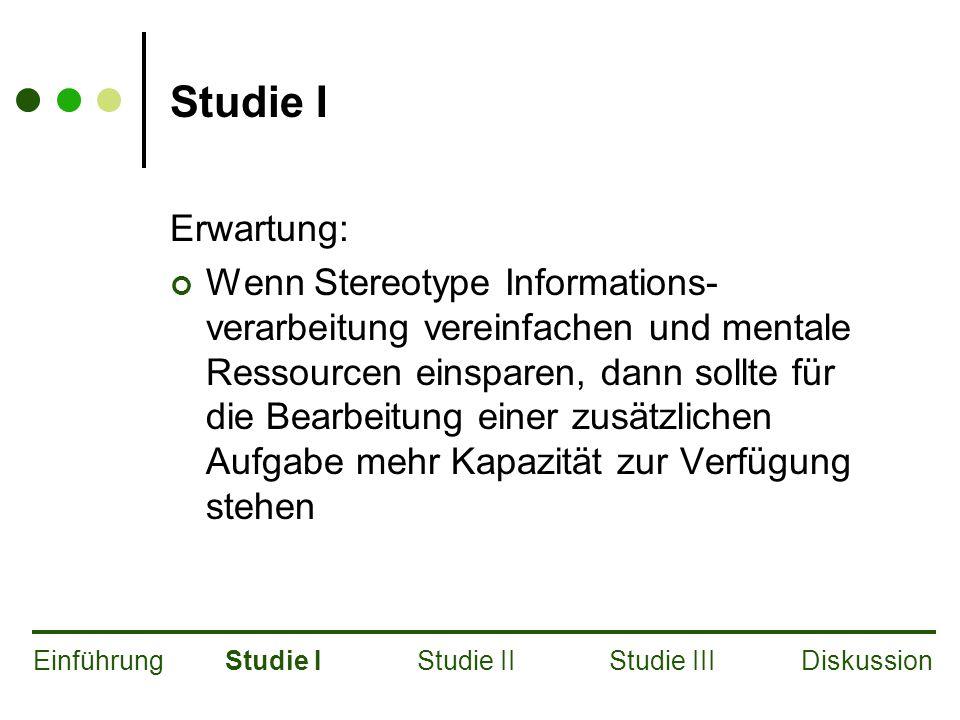 Studie I Erwartung: Wenn Stereotype Informations- verarbeitung vereinfachen und mentale Ressourcen einsparen, dann sollte für die Bearbeitung einer zusätzlichen Aufgabe mehr Kapazität zur Verfügung stehen EinführungStudie IStudie IIStudie IIIDiskussion