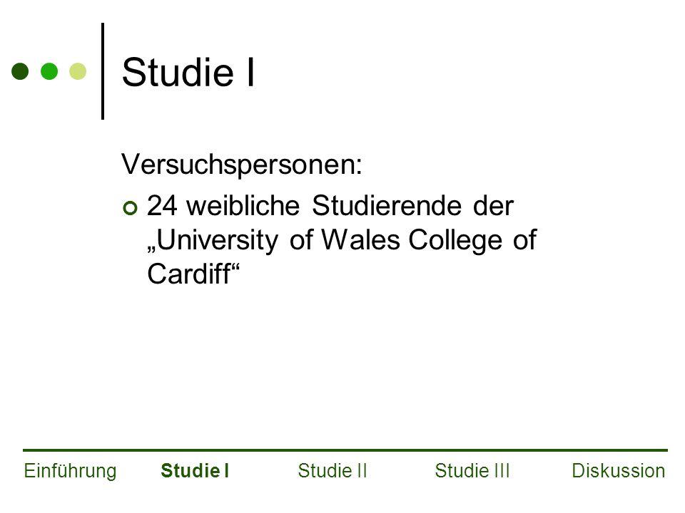 """Studie I Versuchspersonen: 24 weibliche Studierende der """"University of Wales College of Cardiff EinführungStudie IStudie IIStudie IIIDiskussion"""