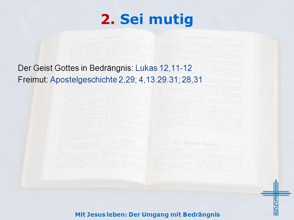 2. Sei mutig Der Geist Gottes in Bedrängnis: Lukas 12,11-12 Freimut: Apostelgeschichte 2,29; 4,13.29.31; 28,31 Mit Jesus leben: Der Umgang mit Bedräng