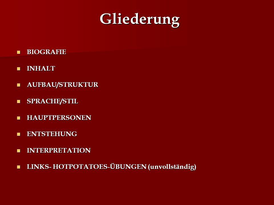 Gliederung BIOGRAFIE BIOGRAFIE INHALT INHALT AUFBAU/STRUKTUR AUFBAU/STRUKTUR SPRACHE/STIL SPRACHE/STIL HAUPTPERSONEN HAUPTPERSONEN ENTSTEHUNG ENTSTEHU