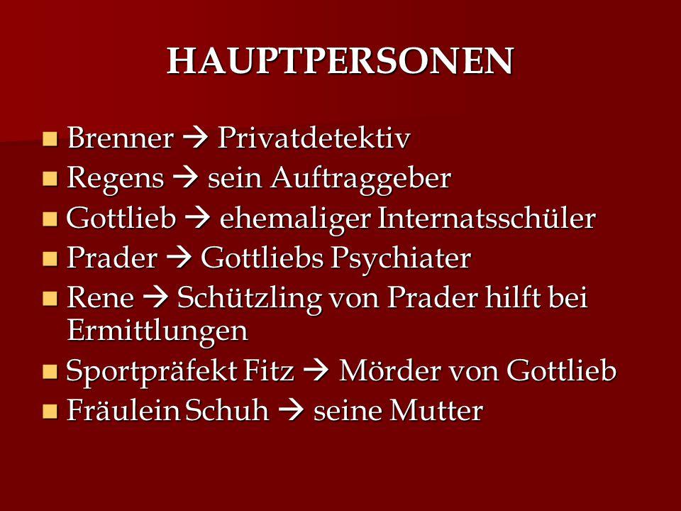 HAUPTPERSONEN Brenner  Privatdetektiv Brenner  Privatdetektiv Regens  sein Auftraggeber Regens  sein Auftraggeber Gottlieb  ehemaliger Internatss