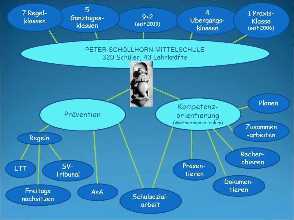 Kompetenz- orientierung (Methodencurriculum) Planen PETER-SCHÖLLHORN-MITTELSCHULE 320 Schüler, 43 Lehrkräfte 9+2 (seit 2013) 4 Übergangs- klassen 1 Pr