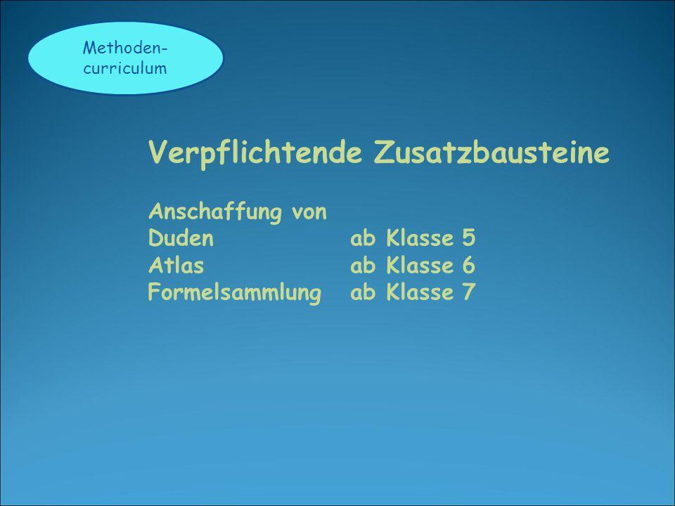 Methoden- curriculum Verpflichtende Zusatzbausteine Anschaffung von Duden ab Klasse 5 Atlas ab Klasse 6 Formelsammlung ab Klasse 7