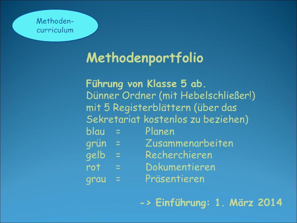 Methoden- curriculum Methodenportfolio Führung von Klasse 5 ab. Dünner Ordner (mit Hebelschließer!) mit 5 Registerblättern (über das Sekretariat koste