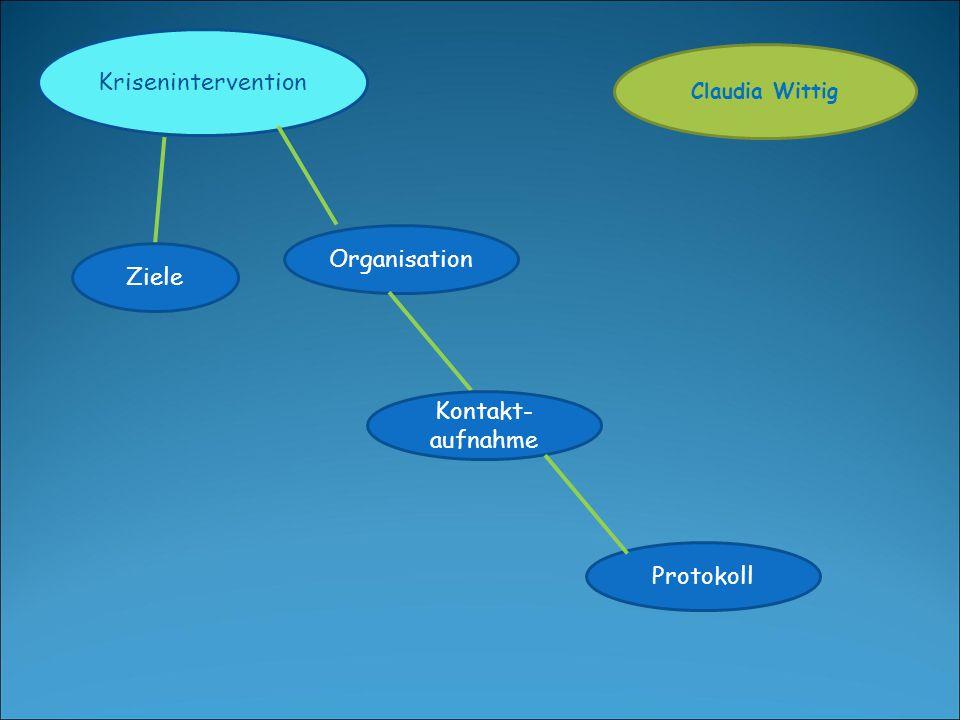 Krisenintervention Ziele Organisation Kontakt- aufnahme Protokoll Claudia Wittig