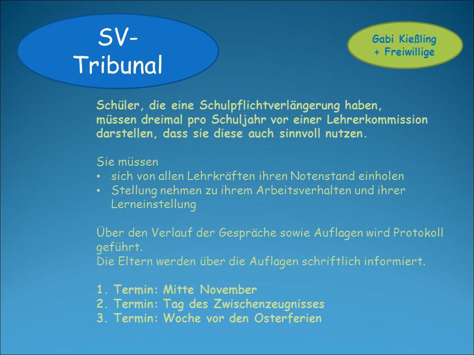 SV- Tribunal Schüler, die eine Schulpflichtverlängerung haben, müssen dreimal pro Schuljahr vor einer Lehrerkommission darstellen, dass sie diese auch