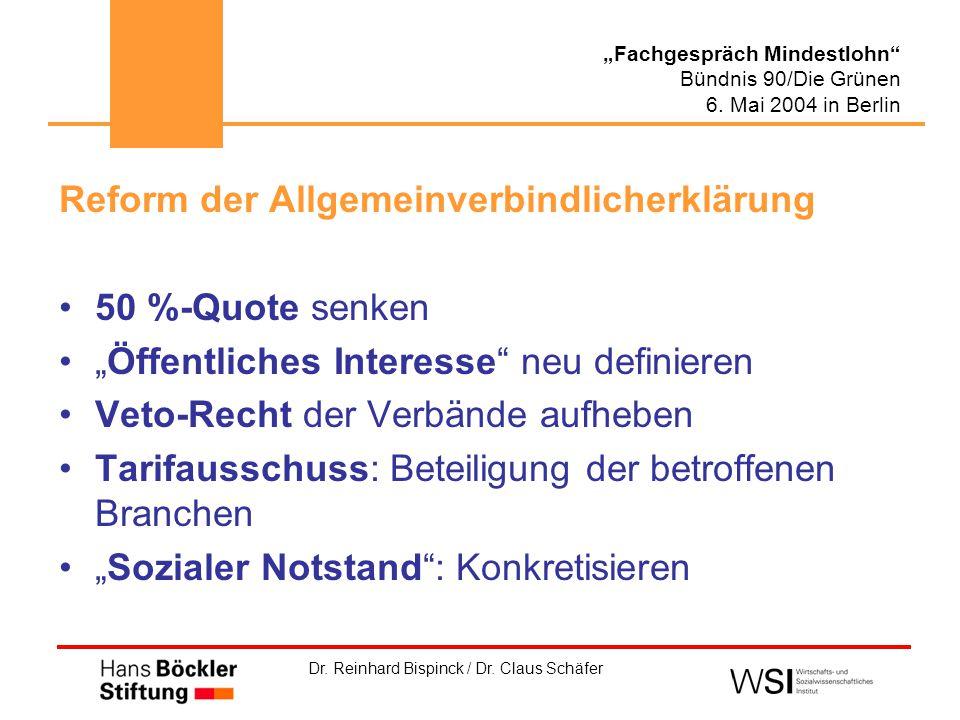 """Dr. Reinhard Bispinck / Dr. Claus Schäfer """"Fachgespräch Mindestlohn"""" Bündnis 90/Die Grünen 6. Mai 2004 in Berlin Reform der Allgemeinverbindlicherklär"""