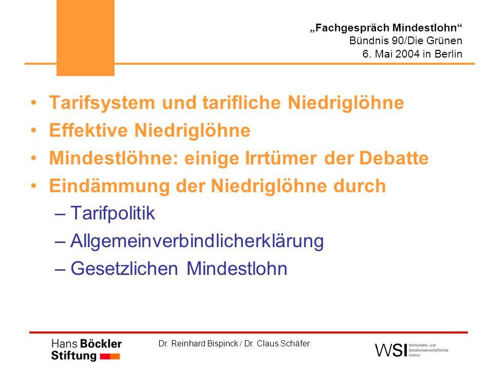 """Dr. Reinhard Bispinck / Dr. Claus Schäfer """"Fachgespräch Mindestlohn"""" Bündnis 90/Die Grünen 6. Mai 2004 in Berlin Tarifsystem und tarifliche Niedriglöh"""