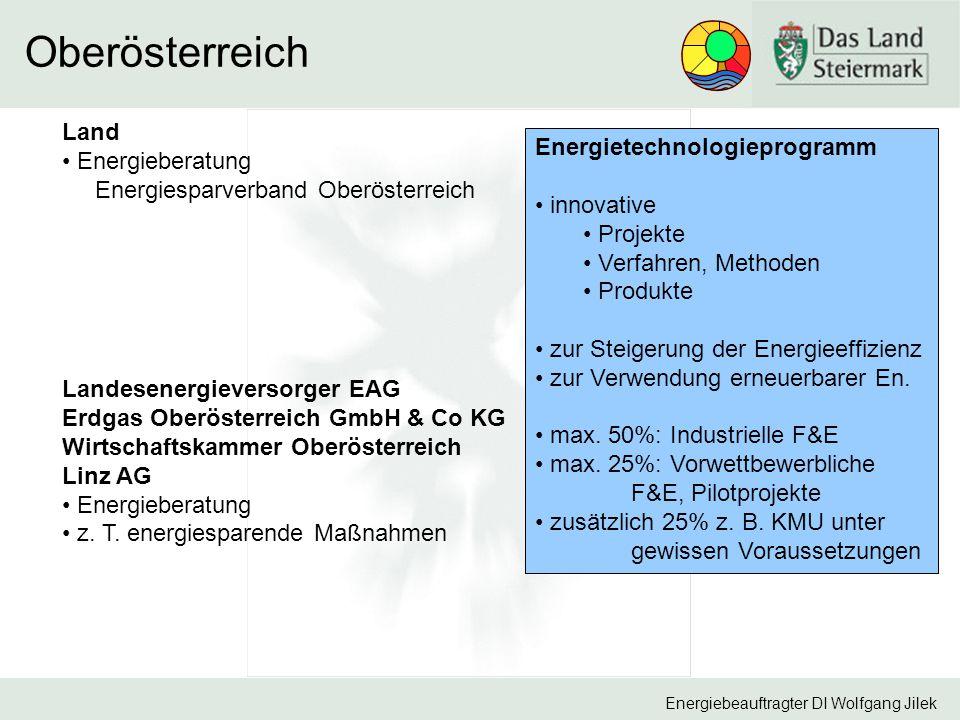 Energiebeauftragter DI Wolfgang Jilek Oberösterreich Land Energieberatung Energiesparverband Oberösterreich Landesenergieversorger EAG Erdgas Oberösterreich GmbH & Co KG Wirtschaftskammer Oberösterreich Linz AG Energieberatung z.