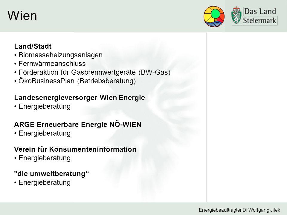 Energiebeauftragter DI Wolfgang Jilek Wien Landesenergieversorger Wien Energie Energieberatung Land/Stadt Biomasseheizungsanlagen Fernwärmeanschluss Förderaktion für Gasbrennwertgeräte (BW-Gas) ÖkoBusinessPlan (Betriebsberatung) ARGE Erneuerbare Energie NÖ-WIEN Energieberatung Verein für Konsumenteninformation Energieberatung die umweltberatung Energieberatung