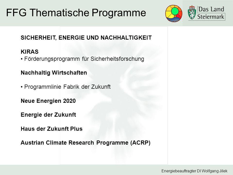 """Energiebeauftragter DI Wolfgang Jilek Programm """"Neue Energien 2020 – 1."""