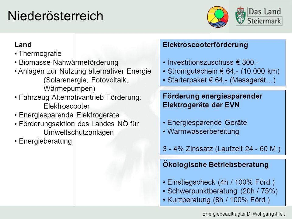 Energiebeauftragter DI Wolfgang Jilek Niederösterreich Land Thermografie Biomasse-Nahwärmeförderung Anlagen zur Nutzung alternativer Energie (Solarenergie, Fotovoltaik, Wärmepumpen) Fahrzeug-Alternativantrieb-Förderung: Elektroscooter Energiesparende Elektrogeräte Förderungsaktion des Landes NÖ für Umweltschutzanlagen Energieberatung Elektroscooterförderung Investitionszuschuss € 300,- Stromgutschein € 64,- (10.000 km) Starterpaket € 64,- (Messgerät…) Förderung energiesparender Elektrogeräte der EVN Energiesparende Geräte Warmwasserbereitung 3 - 4% Zinssatz (Laufzeit 24 - 60 M.) Ökologische Betriebsberatung Einstiegscheck (4h / 100% Förd.) Schwerpunktberatung (20h / 75%) Kurzberatung (8h / 100% Förd.)