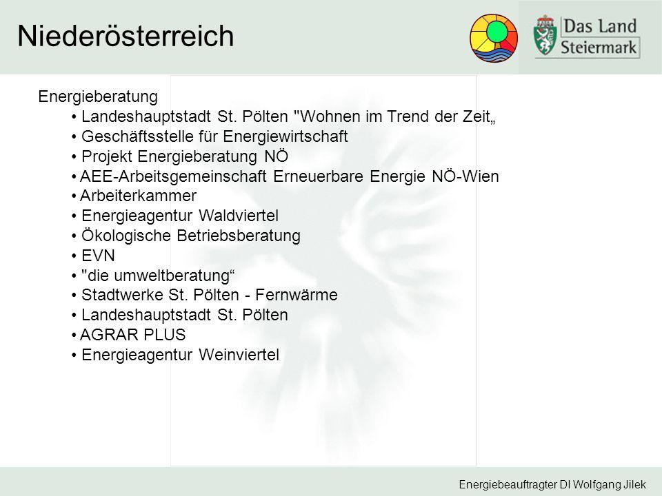 Energiebeauftragter DI Wolfgang Jilek Niederösterreich Energieberatung Landeshauptstadt St.