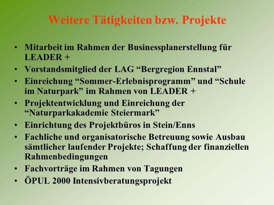 """Weitere Tätigkeiten bzw. Projekte Mitarbeit im Rahmen der Businessplanerstellung für LEADER + Vorstandsmitglied der LAG """"Bergregion Ennstal"""" Einreichu"""