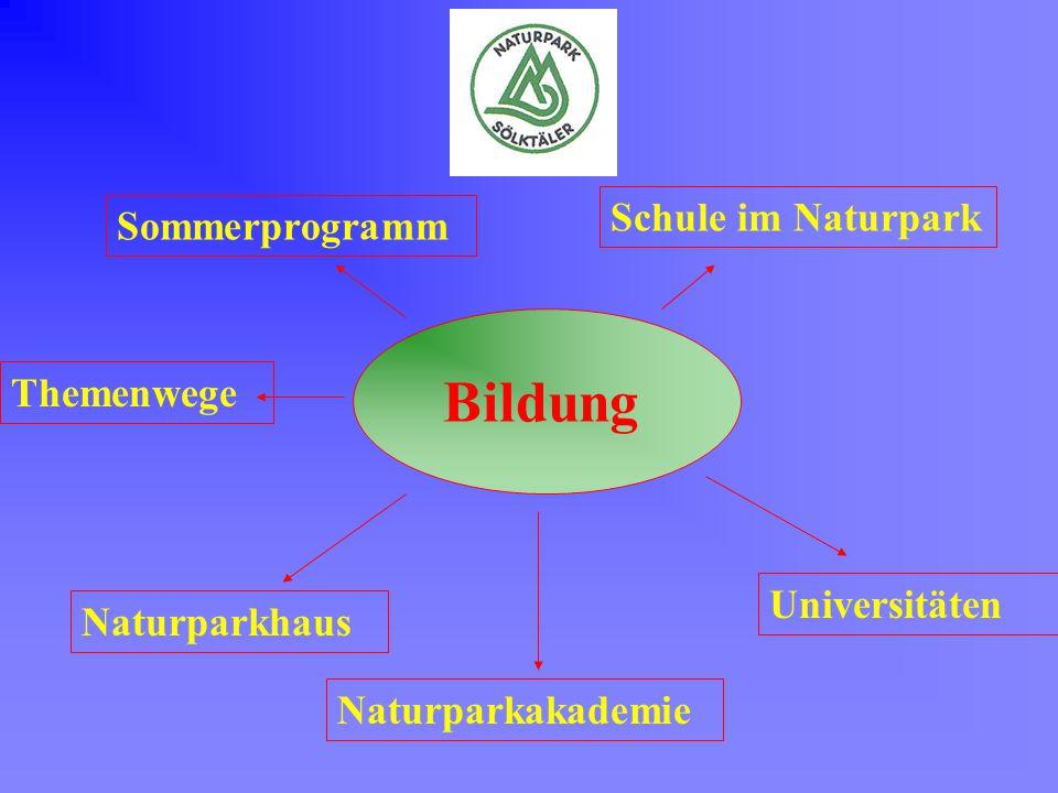 Bildung Sommerprogramm Schule im Naturpark Themenwege Universitäten Naturparkhaus Naturparkakademie