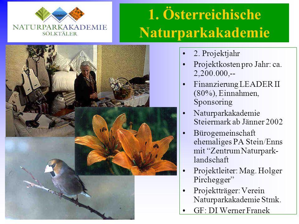 1. Österreichische Naturparkakademie 2. Projektjahr Projektkosten pro Jahr: ca. 2,200.000,-- Finanzierung LEADER II (80%), Einnahmen, Sponsoring Natur