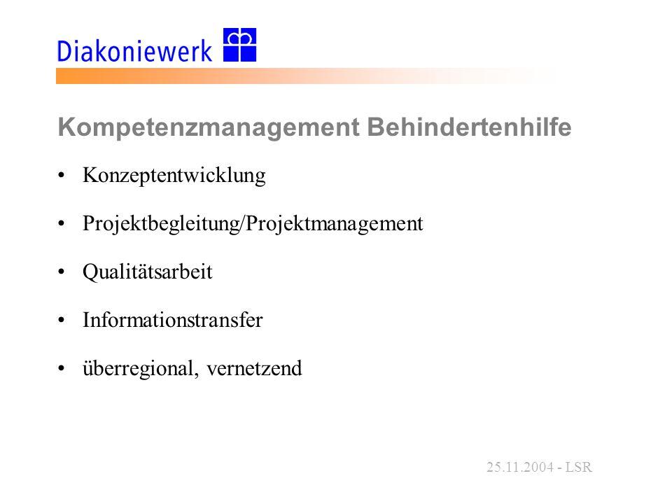 25.11.2004 - LSR Kompetenzmanagement Behindertenhilfe Konzeptentwicklung Projektbegleitung/Projektmanagement Qualitätsarbeit Informationstransfer überregional, vernetzend