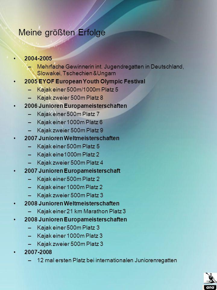 Meine größten Erfolge 2004-2005 –Mehrfache Gewinnerin int. Jugendregatten in Deutschland, Slowakei, Tschechien &Ungarn 2005 EYOF European Youth Olympi