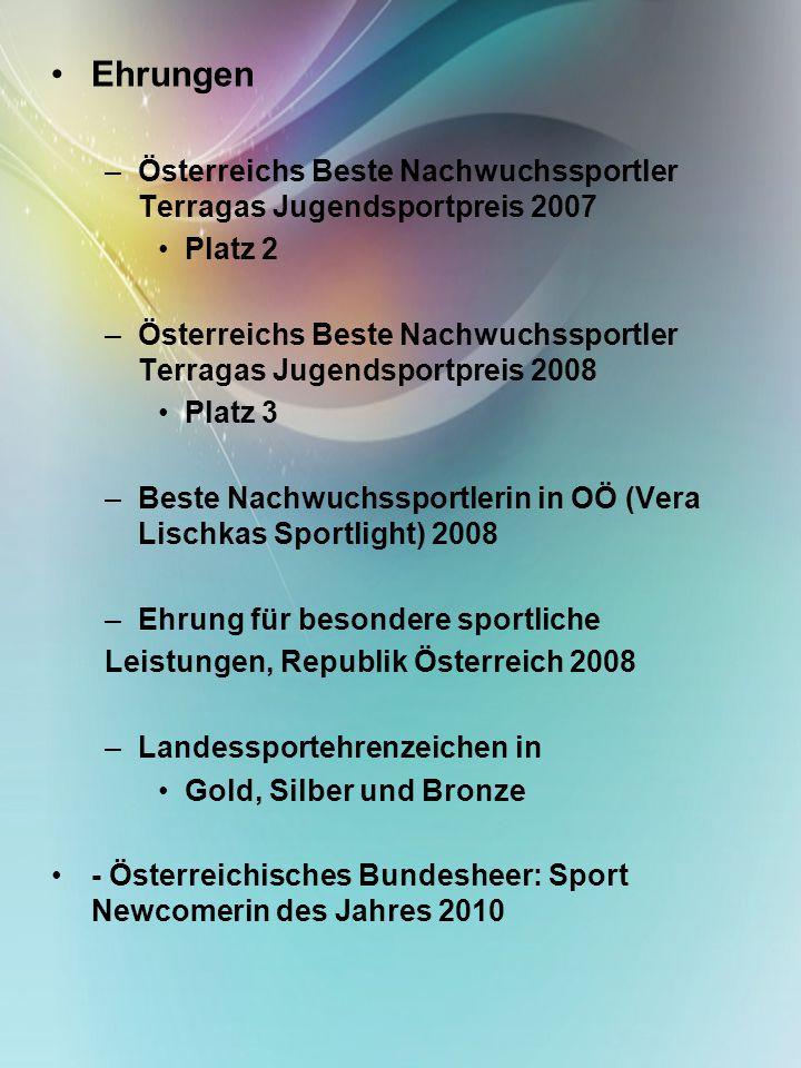 Ehrungen –Österreichs Beste Nachwuchssportler Terragas Jugendsportpreis 2007 Platz 2 –Österreichs Beste Nachwuchssportler Terragas Jugendsportpreis 20
