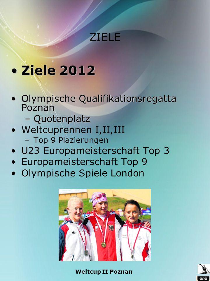ZIELE Ziele 2012Ziele 2012 Olympische Qualifikationsregatta PoznanOlympische Qualifikationsregatta Poznan –Quotenplatz Weltcuprennen I,II,III –Top 9 P