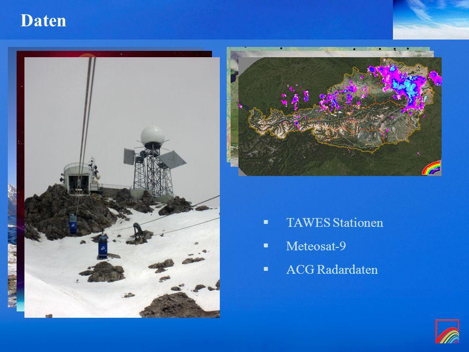 Daten  TAWES Stationen  Meteosat-9  ACG Radardaten