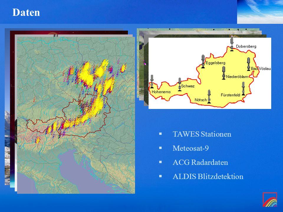 Daten  TAWES Stationen  Meteosat-9  ACG Radardaten  ALDIS Blitzdetektion