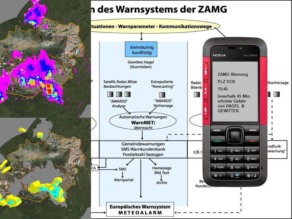 ZAMG Warnung PLZ 9330 15:40 Innerhalb 45 Min. erhöhte Gefahr von HAGEL & GEWITTER