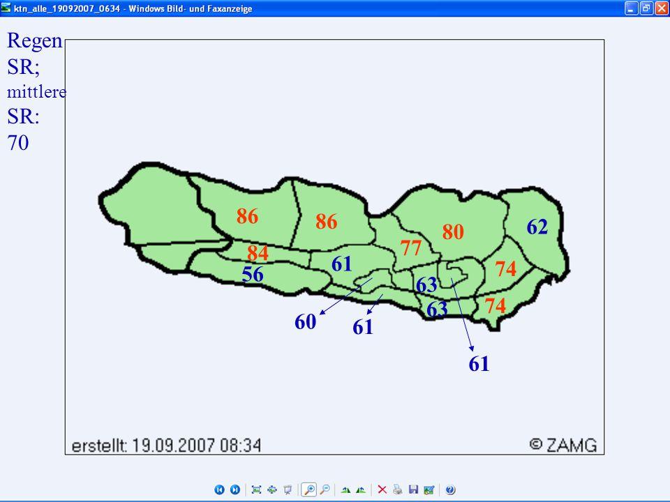 Regen SR; mittlere SR: 70 61 60 56 63 80 86 84 61 74 62 77
