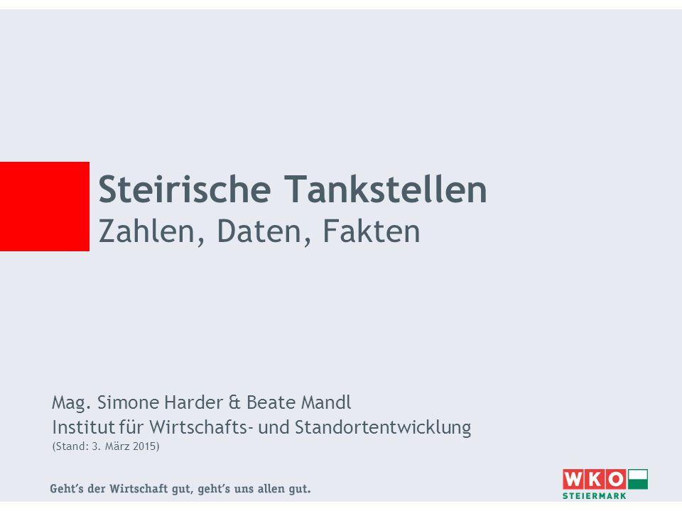 Steirische Tankstellen Zahlen, Daten, Fakten Mag. Simone Harder & Beate Mandl Institut für Wirtschafts- und Standortentwicklung (Stand: 3. März 2015)