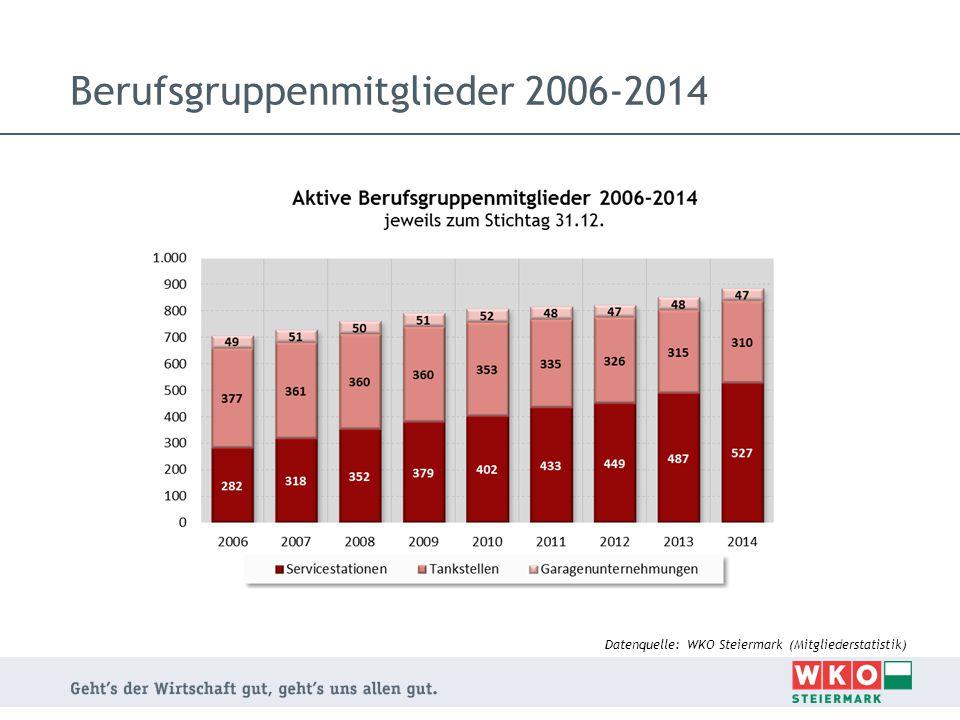Berufsgruppenmitglieder 2006-2014 Datenquelle: WKO Steiermark (Mitgliederstatistik)