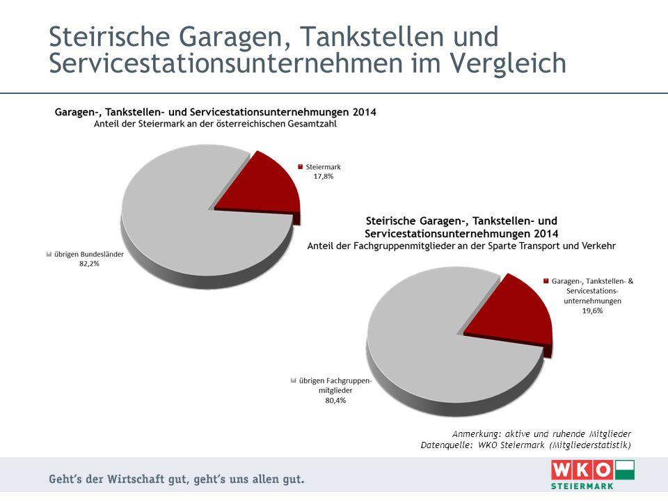 Steirische Garagen, Tankstellen und Servicestationsunternehmen im Vergleich Anmerkung: aktive und ruhende Mitglieder Datenquelle: WKO Steiermark (Mitg
