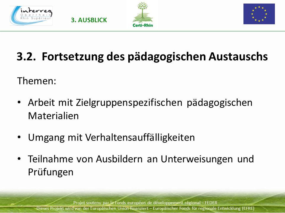 Projet soutenu par le Fonds européen de développement régional – FEDER Dieses Projekt wird von der Europäischen Union finanziert – Europäischer Fonds für regionale Entwicklung (EFRE) 3.2.
