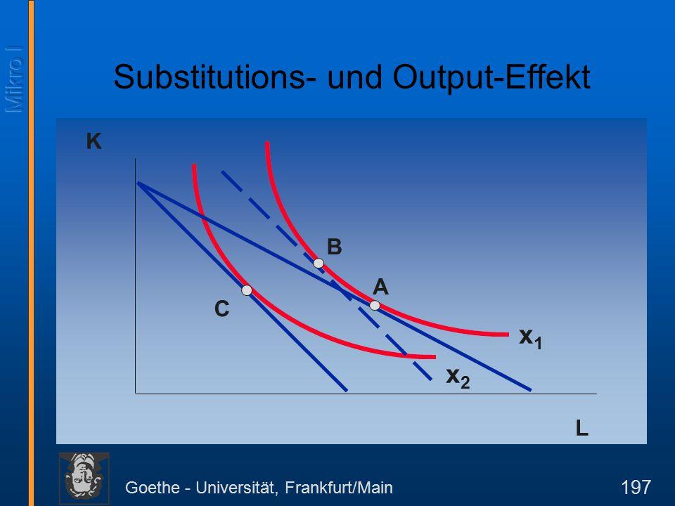 Goethe - Universität, Frankfurt/Main 197 K L A B C x1x1 x2x2 Substitutions- und Output-Effekt